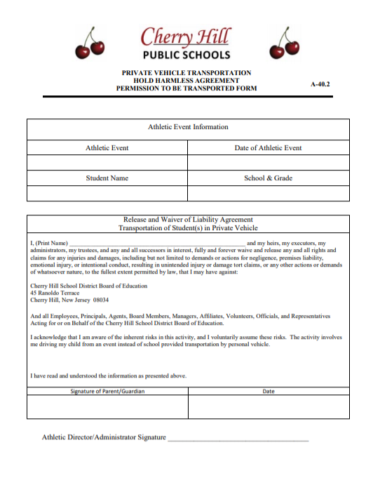 Private Vehicle Transportation Release Form