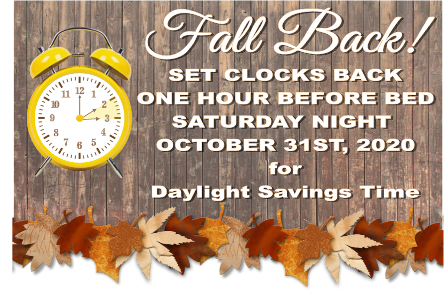 Fall Back 1hr at 2am on November 1, 2020