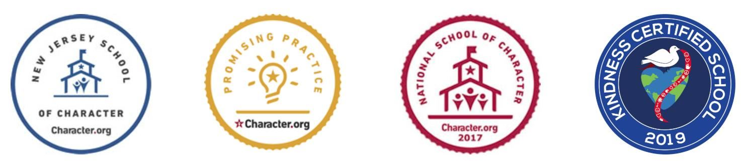 New Jersey School of Character, Promising Practice, National School of Character 2017, and Kindness Certified School 2019 Badges Character.org
