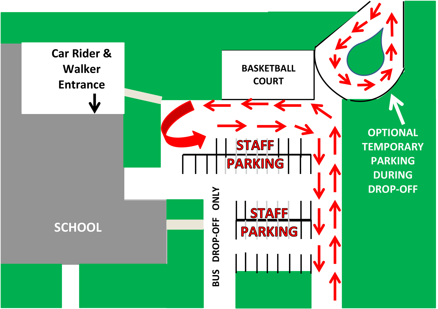 Kilmer Drop Off and Parking Diagram