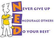Cartoon character standing next to NED acronym. Never Give Up, Encourage Others, Do your best.