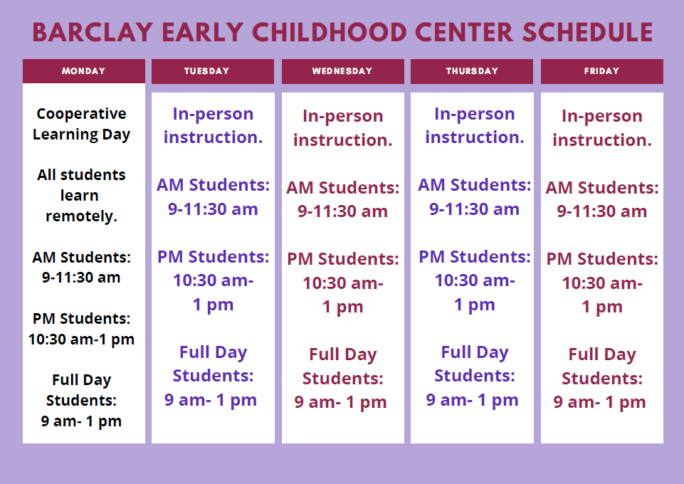 Barclay Early Childhood Center Schedule