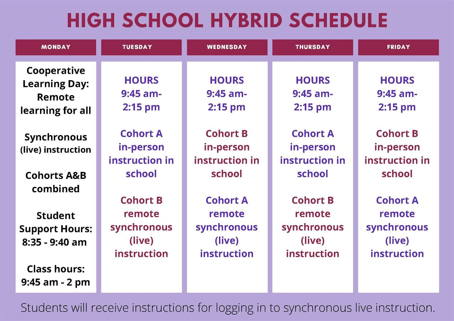 High School Hybrid Schedule