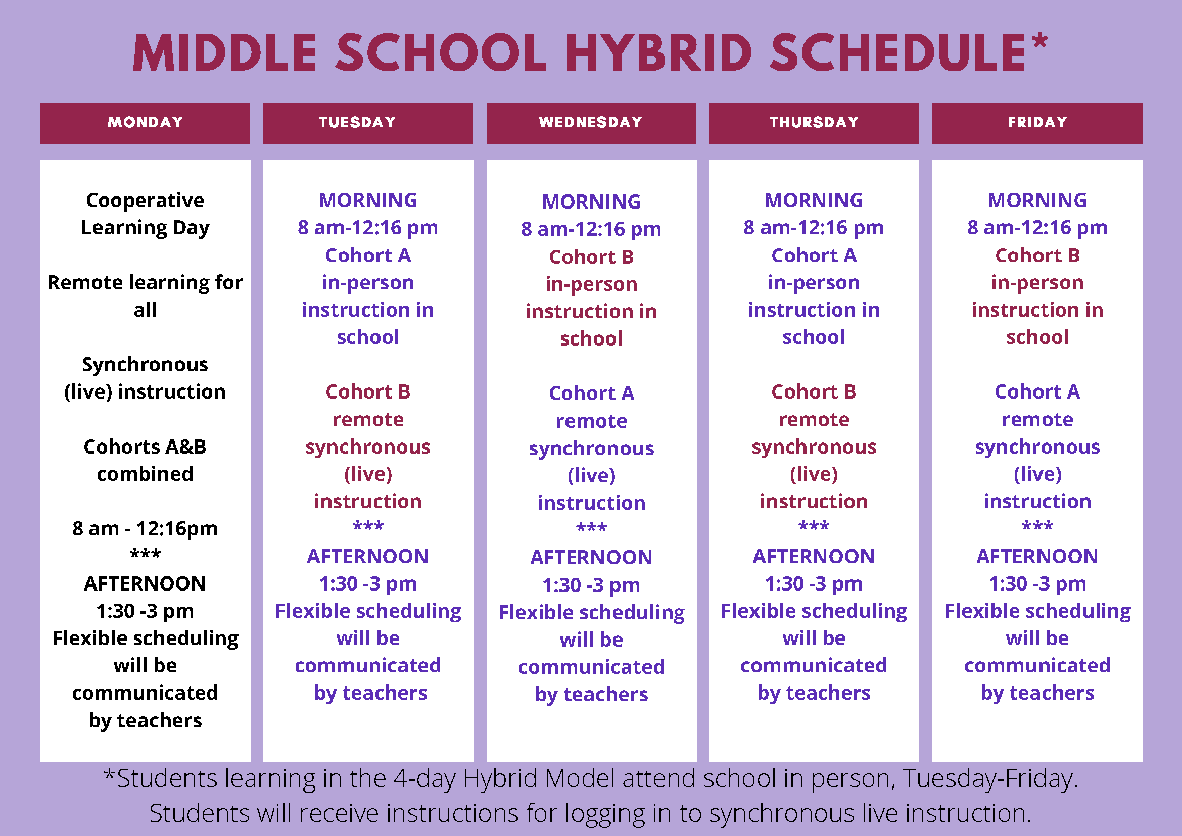 Middle School Hybrid Schedule